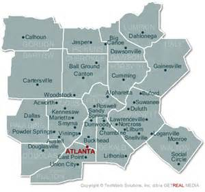 Atlanta Counties Map by North Georgia Map With Cities