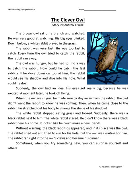 Second Grade Comprehension Worksheets by The Clever Owl Reading Comprehension Worksheet