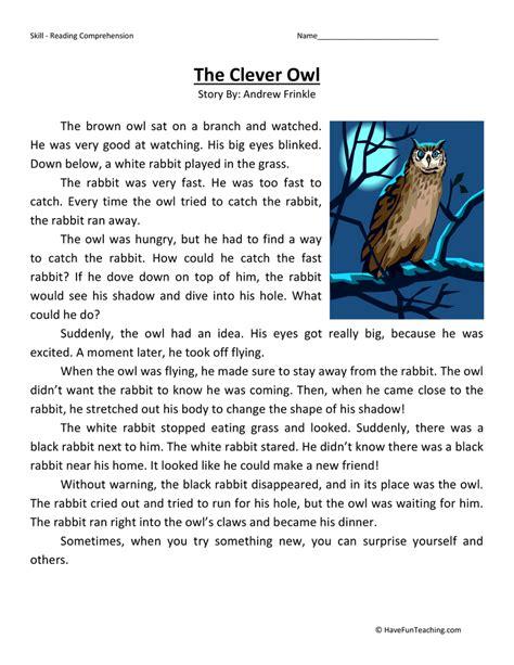 2nd Grade Test Prep Worksheets by The Clever Owl Reading Comprehension Worksheet