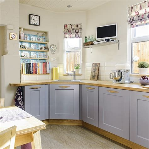 Kitchen Paint Lilac Neutral Country Kitchen With Lilac Cabinetry And Patterned