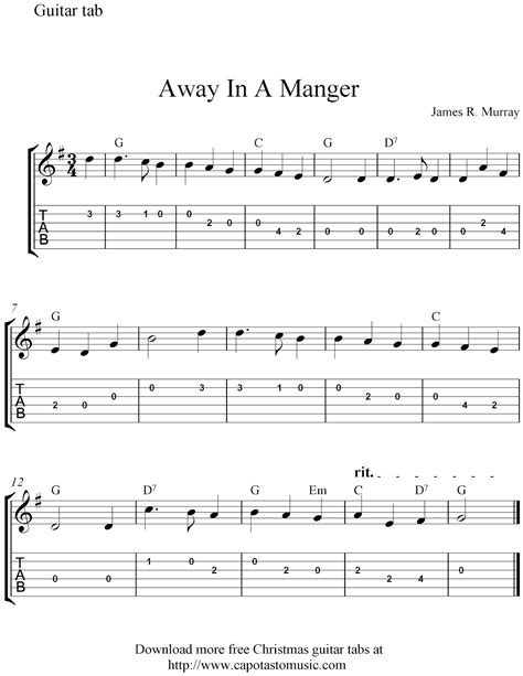 printable sheet music guitar free easy christmas guitar tablature sheet music away in
