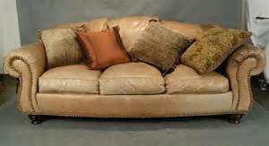 Dux Sofa 130a Thomasville Leather Sofa Tan Lot 130a