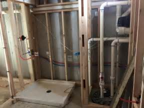 new basement bathroom installation shower pan and in