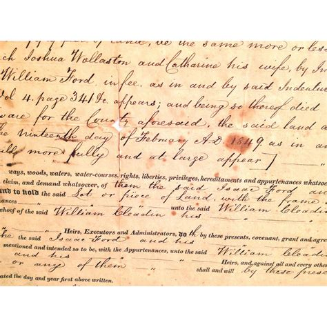 New Castle County Deeds Property Records 1852 Indenture Deed Document New Castle County Delaware Between Ford