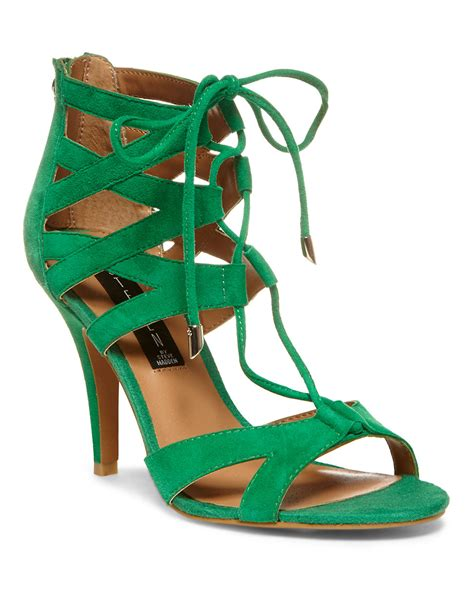 green high heel sandals steven by steve madden gingir high heel sandals in green