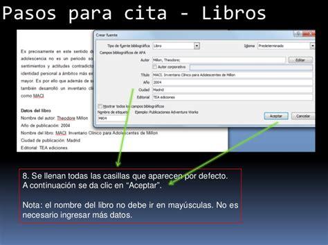 formato apa en word 2010 apexwallpapers com creaci 243 n de citas en normas apa con word 2007 y 2010