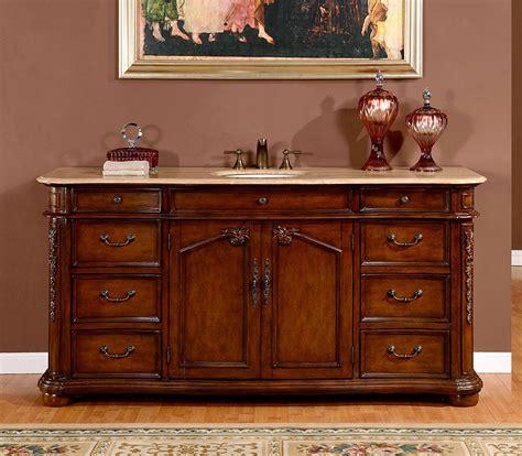 Silkroad 72 inch antique single sink bathroom vanity cream marfil marble counter top