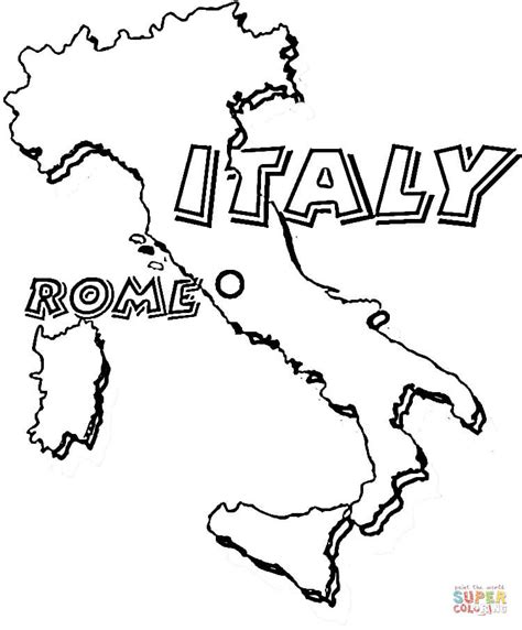 map of italy rome is the capital of italy coloring page