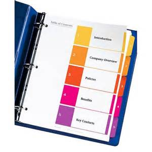 avery 5 tab index template avery ready index table of contents dividers 11187 5 tab