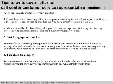 cover letter for a customer service representative call center customer service representative cover letter