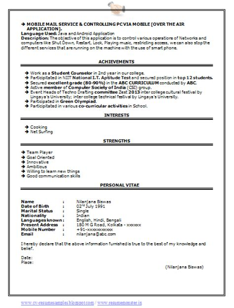 Resume Sles For Computer Science Engineers 10000 Cv And Resume Sles With Free Computer Science Engineering Resume Sle