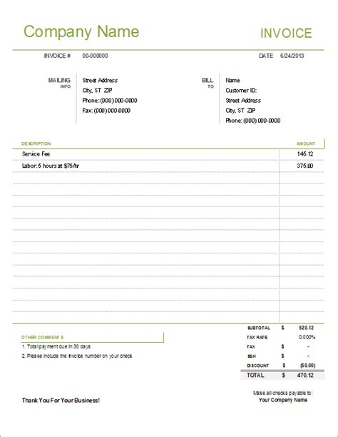 Simple Invoice Template For Excel Free Easy Invoice Template Free