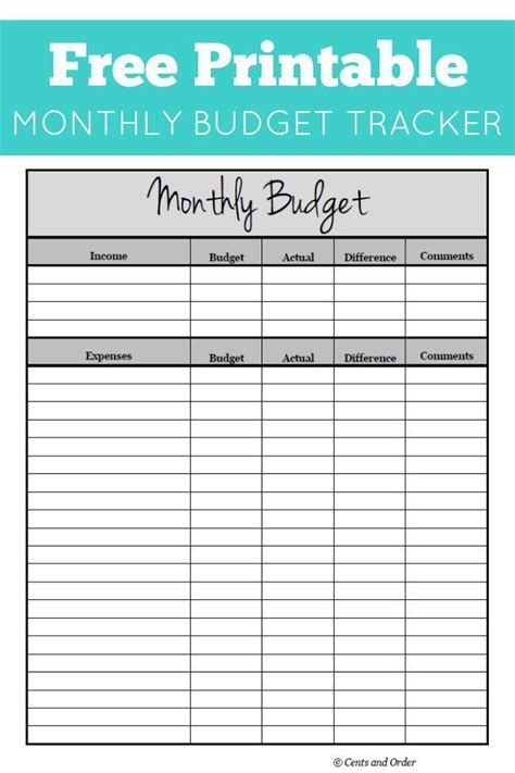 ideas monthly budget printable pinterest