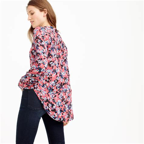 Blouse Floral Blue Preloved j crew collection silk blouse in autumn floral in blue lyst
