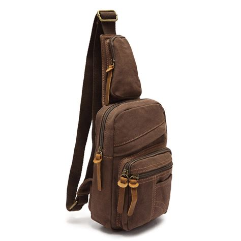 Canvas Chest Bag Coffee ecocity s canvas cross chest pack