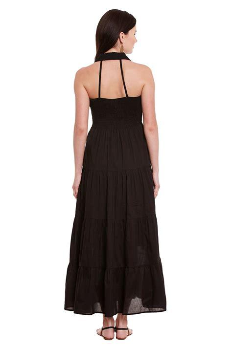 Denada Button Maxi F A front button maxi dress in black color with half collar dresses