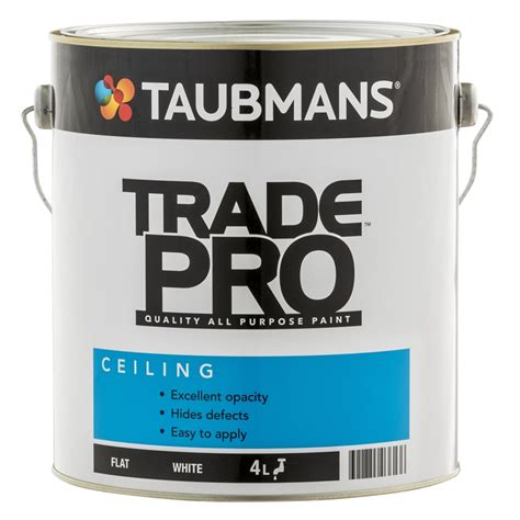 Taubmans Ceiling Paint by Taubmans Trade Pro 4l White Flat Interior Ceiling Paint