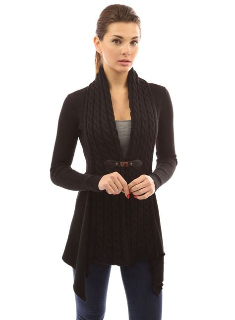 women s women s long sleeve cable knit irregular cardigan roawe com