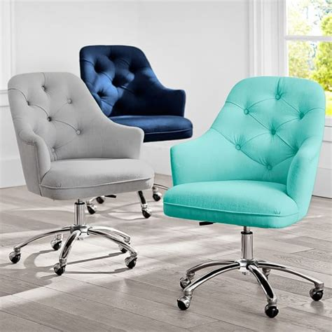 pb desk chair twill tufted desk chair pbteen