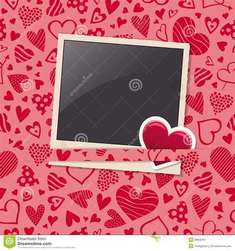 heart pattern frame photo frame with heart sticker and hearts pattern stock