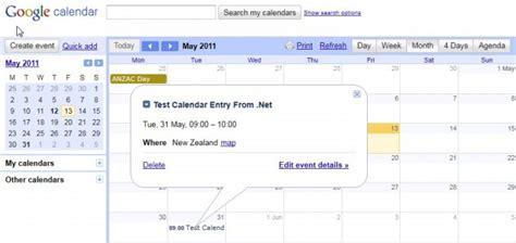 Calendar Api Net Managing Calendar Events Using Net Codeproject