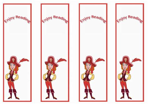 printable pirate bookmarks jake and the never land pirates bookmarks birthday printable
