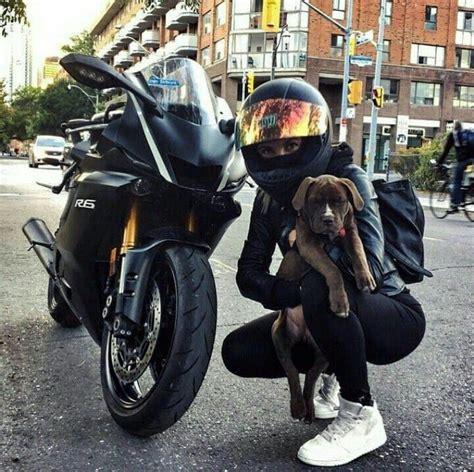 black yamaha  motorcycle biker girl  dog yamaha