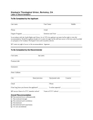 Baylor College Of Medicine Letter Of Recommendation College Recommendation Letter Forms And Templates Fillable Printable Sles For Pdf Word