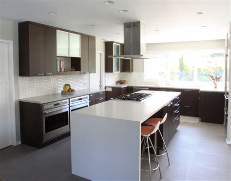 Kitchen Cabinets Inside Design by This Waterfall Top Made With Caesarstone Quartz Is A