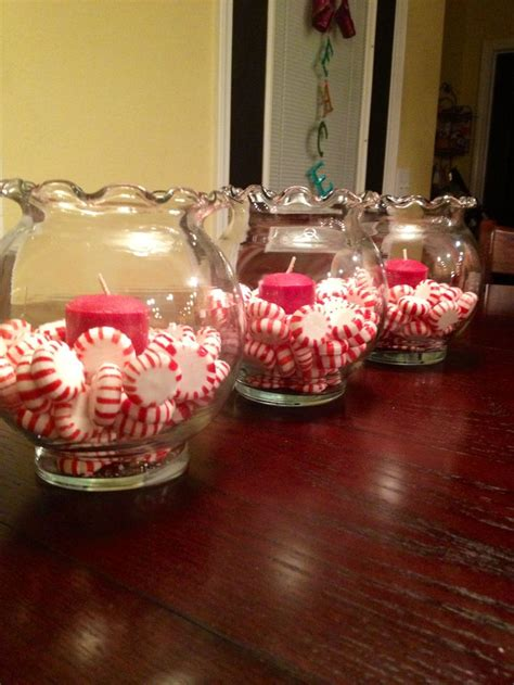 small candle table ls peppermints in small quot fish bowls quot with candles super cute
