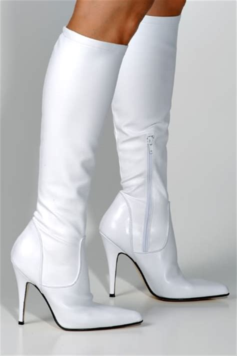 high heel white boots heel sea