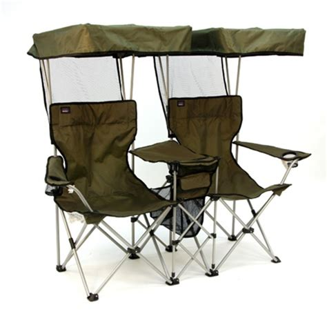 folding chair for two with individual canopies