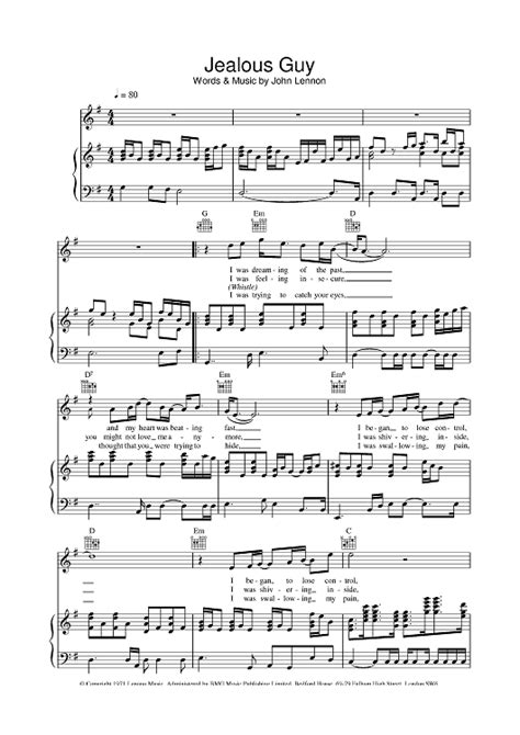 tutorial piano jealous guy jealous guy sheet music music for piano and more