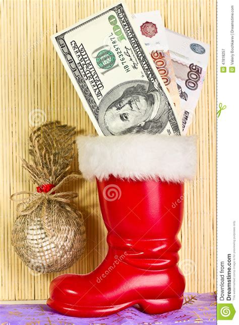 dollars in boot of santa claus stock photo image 47818257