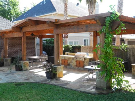 Pergolas And Patio Covers Contemporary Landscape Patio Design Houston