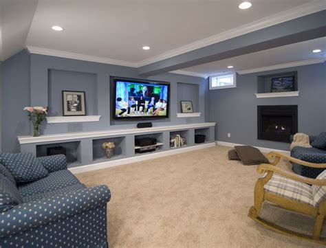 basement entertainment ideas this remodeled basement includes an entertainment wall and