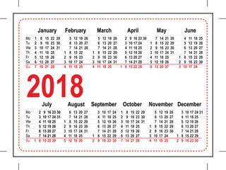 2017 And 2018 Pocket Calendar Search Photos 2018