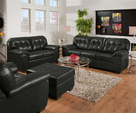 simmons living room set soho onyx black contemporary tufted bonded leather living