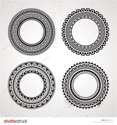 polynesian circle tattoo designs set of polynesian circle designs photo 5