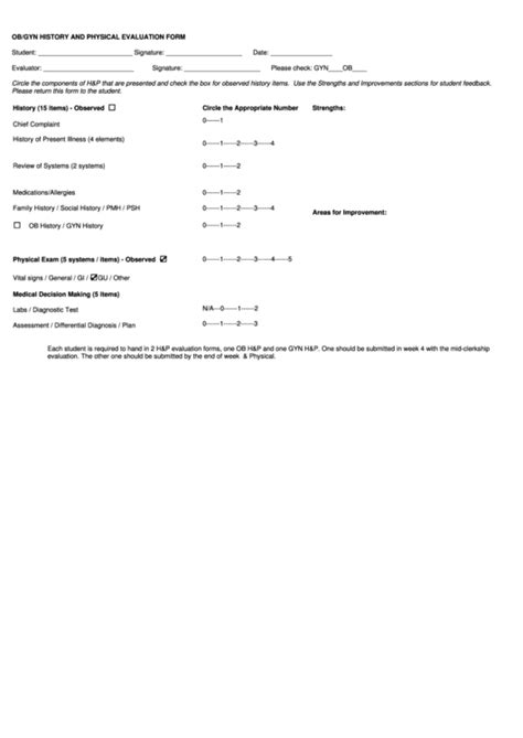 Ob Gyn History And Physical Evaluation Form Printable Pdf Download Ob Gyn History And Physical Template