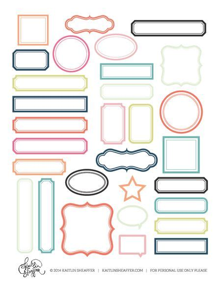 Free Print And Cut Printable With Frames Several Color To Chose From Printable Labels And Mini Labels Template