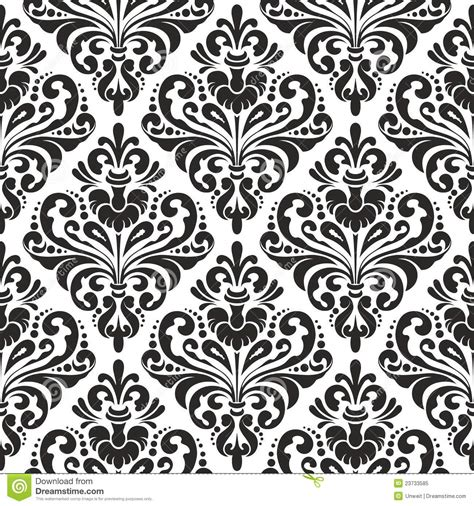 black and white wall pattern floral damask wallpaper stock vector illustration of