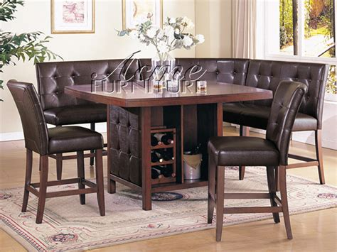 dining table and bench set bravo 6 piece dining set counter height corner seating 2 chairs
