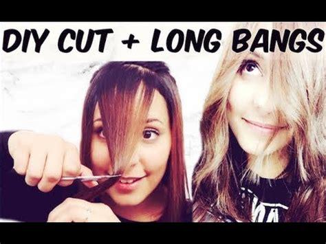 diy layered haircut upside down with bangs diy haircut long layers long bangs youtube