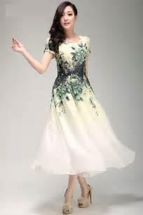 printed chiffon dress tea length dress my style pinterest