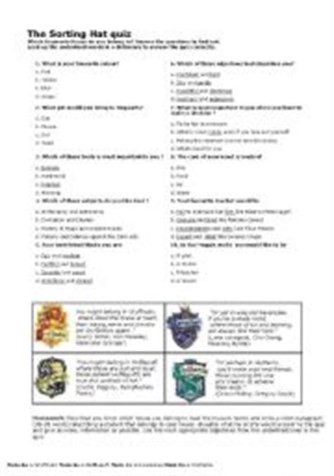 printable house sorting quiz english worksheet the sorting hat quiz