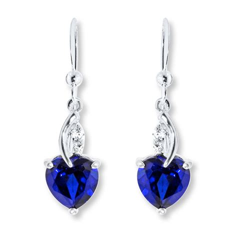 kay lab created sapphire sterling silver earrings