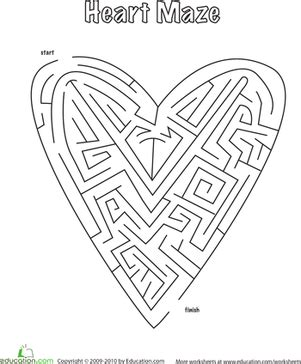 printable heart maze complete the heart maze worksheet education com