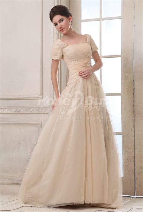 A Line Dress 25471 tulle sleeves sweep wedding dress with color