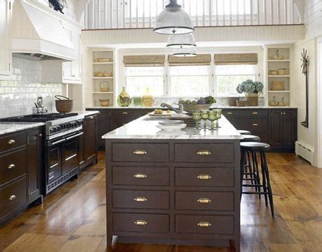 Dark Brown Kitchen Cabinets   Cottage   kitchen   Benjamin